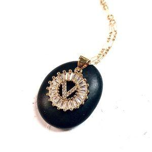 Initial V Necklace, Letter V, Personalized V, Boho